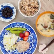 【食べ痩せ献立:週末朝食編】さばサラダと黒豆の塩煮など♡