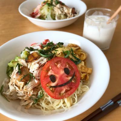 鶏ささみと野菜の冷やし中華