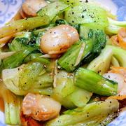 安めの青梗菜とベビーホタテで、な~んちゃって中華☆