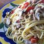 サバとプチトマトのペペロンチーノ