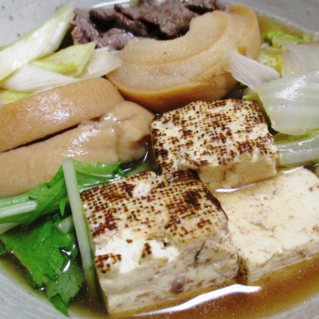 車麩と焼き豆腐のすき焼き風煮物