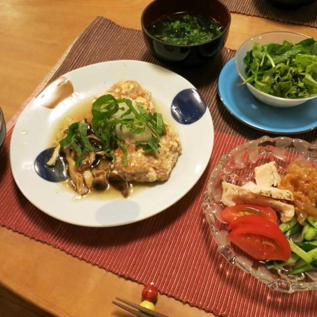 豆腐ハンバーグのきのこおろし餡かけの晩ご飯 と シコンノボタンの花♪