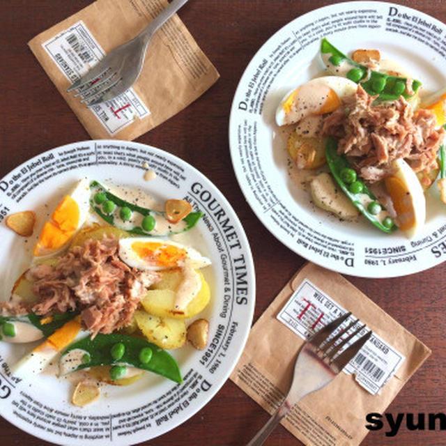 【簡単!!副菜・サラダ】じゃがいもとツナとゆで卵のウスターマヨソースと、ゆで卵の切り方
