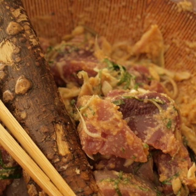 鰹の刺身の食べ方、続・すり鉢のススメ、と、また?!