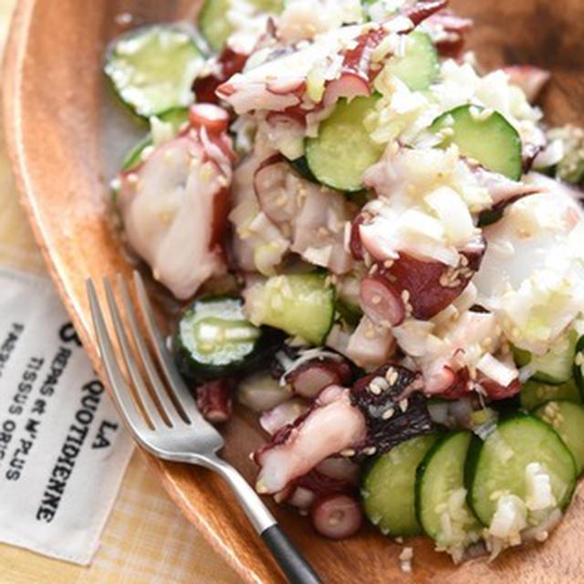 【レシピ・副菜・作り置き・おつまみ】タコときゅうりのねぎ塩だれ