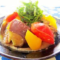 [鯖水煮缶deスピード料理*お弁当にも♪]茄子のカラフルみそ炒め
