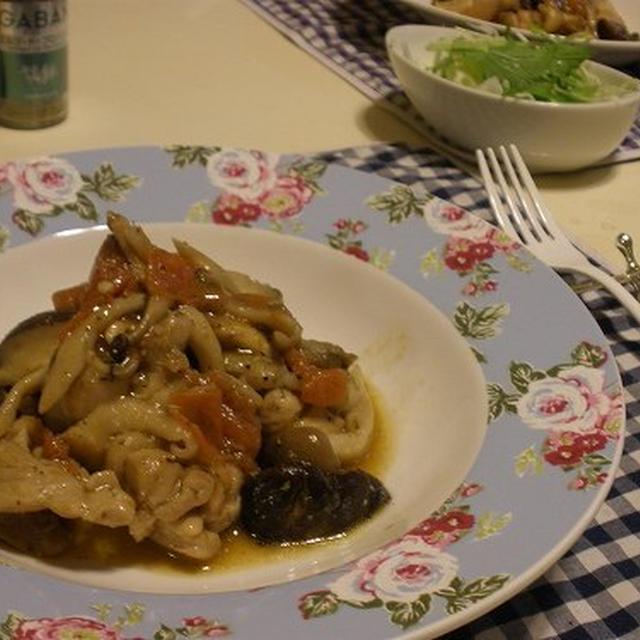 お出汁たっぷり♪ カレーうどん / 鶏とキノコのトマト煮込み ~エルブ・ド・プロバンス~