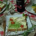 オードブルチーズとスモークチキンのオープンサンド・小岩井乳業 ぬるチーズ