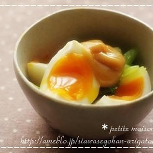小松菜と半熟卵のごまマヨサラダ