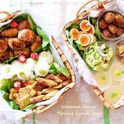 【春のお弁当】今日は甥っ子が関西から遊びに来てくれましたー♪食べやすいようバスケットに...
