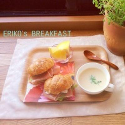 クロワッサンサンドとカブのポタージュで朝ご飯