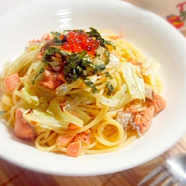 塩鮭とキャベツの和風パスタ☆頂き物