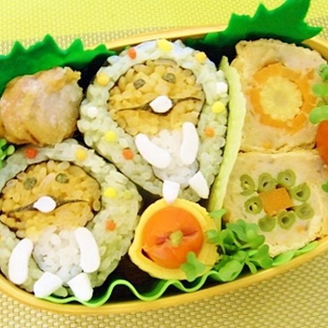 なめこ恵方巻きレシピと作り方画像^^&ハニーマスタード焼き豚^^