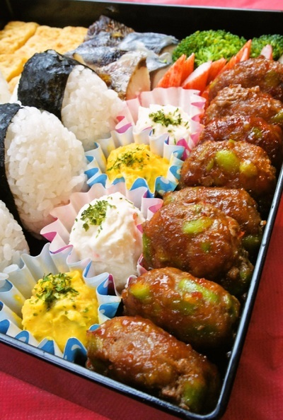 お花見弁当~ピリ辛枝豆バーグ