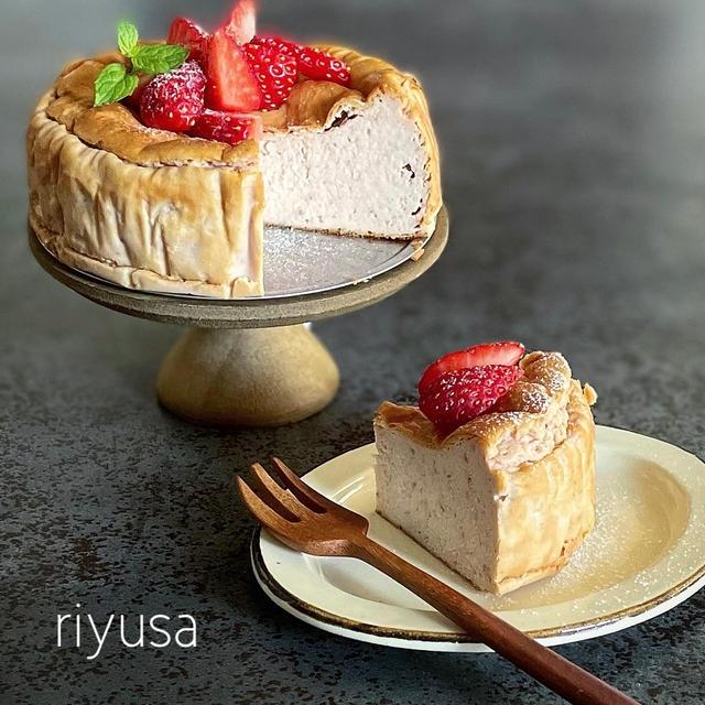 【ミキサーでガーッとレシピ】苺のベイクドチーズケーキ