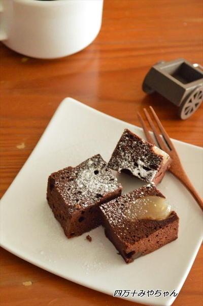 レンジで1分30秒!甘納豆チョコレートケーキ
