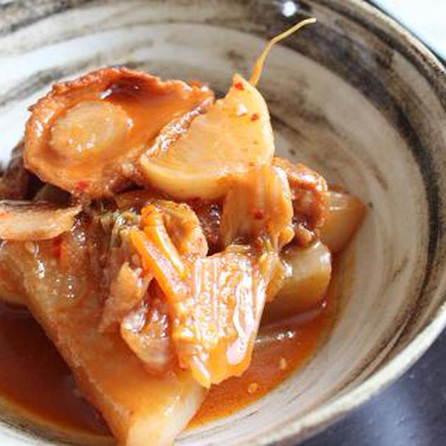 大根と油麩のキムチ煮。