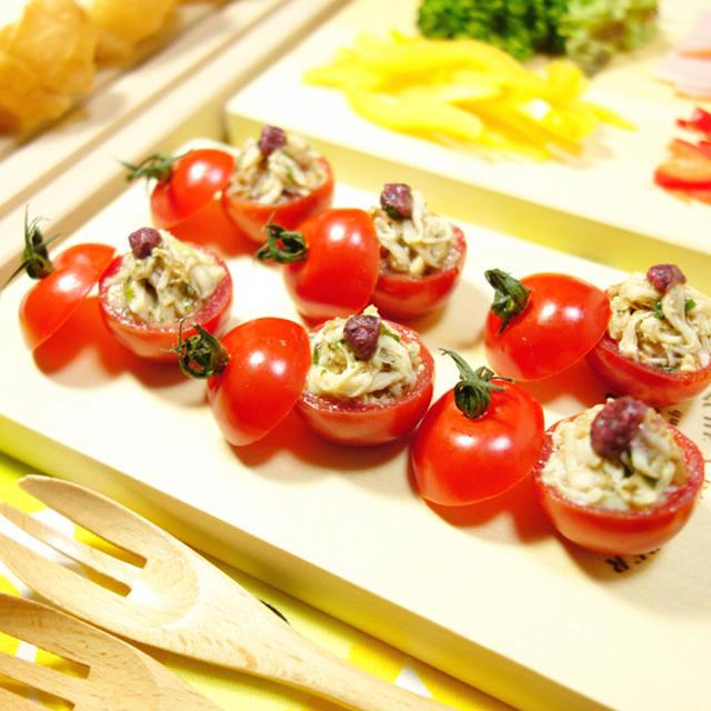 香味たっぷり♪梅の酸味が心地いい!たっぷりささみdeミニミニ☆ミニトマトのファルシ 香味・ファルシ・お弁当料理 -Recipe No.1453-