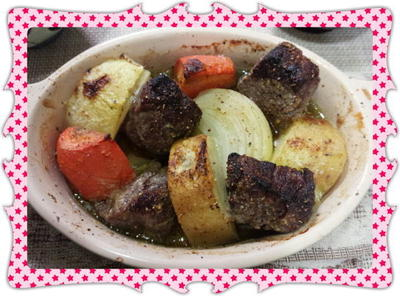 牛肉と野菜のアヒージョ風グリル