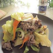 牛肉とレタスのナツメグ麺つゆ炒め