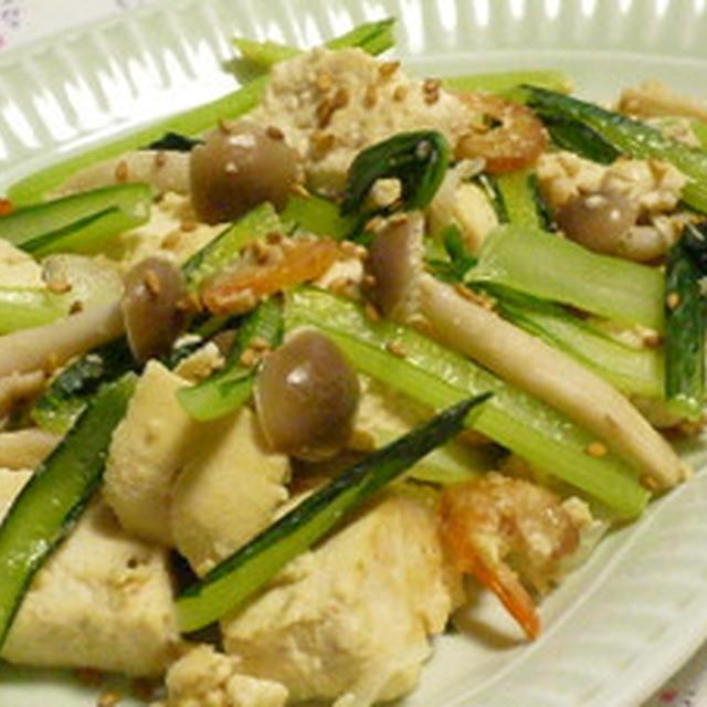 干し海老と小松菜と豆腐のチャンプルー☆ジューシーチキン弁当