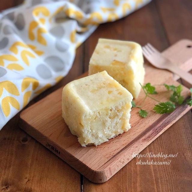 【レンジ5分でもっちり!】混ぜてチンだけ*さつまいもチーズ蒸しパン