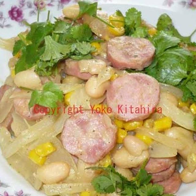 デイリー・レシピ~カネリーニ豆とソーセージのカレー風味炒め R#083