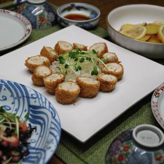 献立付きレシピ わさび巻き一口カツ・ひじきとたこのサラダ・新さつま芋のはちみつ煮
