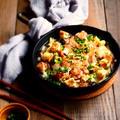 スキレットで鶏焼きうどん鍋・モランボン地鶏だしちゃんこ by naomiさん