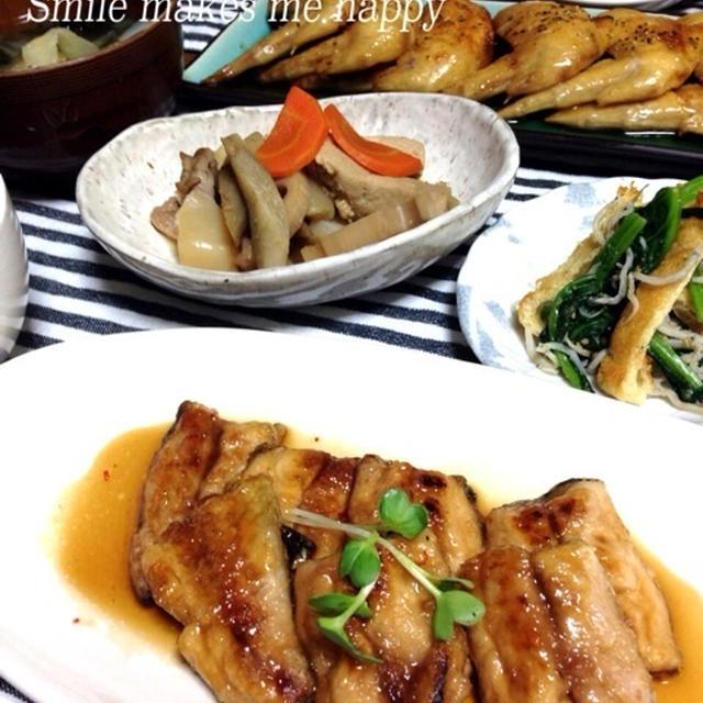 我が家の定番♡秋刀魚のピリ辛焼きと揚げない手羽先♡…試合後の晩ごはん
