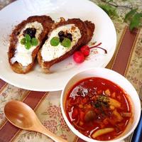 蓮根入りトマトスープとカフェオレフレンチトースト