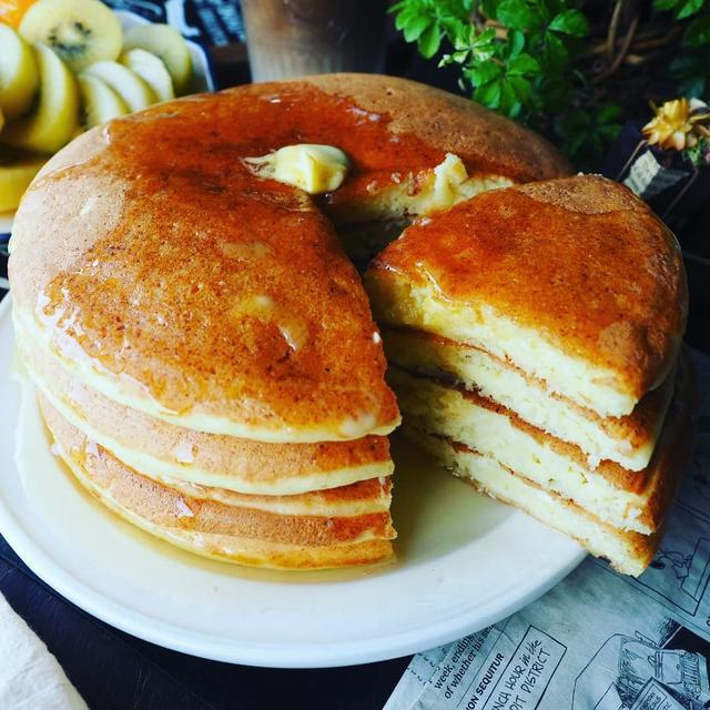 暑かった~(^^;と、豆乳と豆腐でもっちりヘルシー❤️もちふわ休日パンケーキ♪