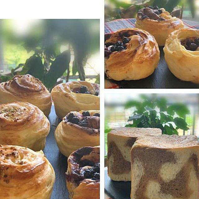 オーブンフル活動!クリームチーズとブルーベリージャムのデニッシュロールやコーヒーマーブル角食パン