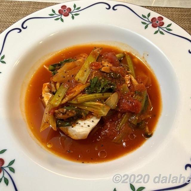 【レシピ】カジキとしめじのトマト蒸し煮 ブライン液を使ってしっとりジューシーに仕上げる
