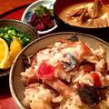 塩秋刀魚と自家製梅干しの炊き込みご飯
