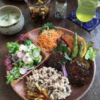 玄米プレート【豆腐・おから・ひじきの入ったハンバーグ】