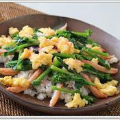 塩鯖と菜の花の春色散らし寿司