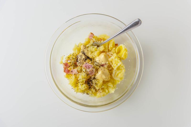 4、冷めたら、食べる直前にBを加えて混ぜる。<br>※マヨネーズの量は好みで調整を<br>