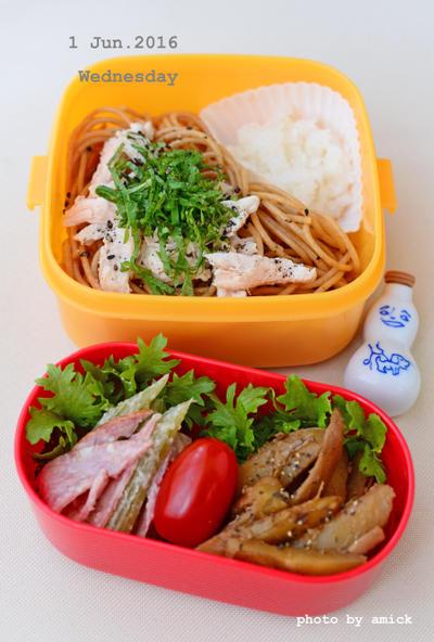 6月1日 水曜日 ささみと青紫蘇のおろしスパゲッティ