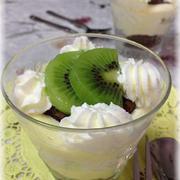 簡単ひんやり♪ チョコとキウィのトライフル ★ ヨーグルトカスタードクリーム