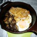 キャプスキで厚切り豚ロースステーキ+椎茸