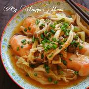 [簡単!レンジのみ!]鮭とキノコの柔らか味噌蒸し と 梅とひき肉のシソ炒飯