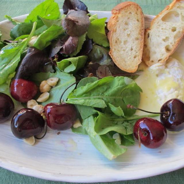 ローストしたチーズとチェリーのサラダ & コーンとマスカルポーネ  7・10・2012