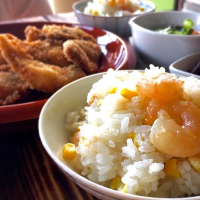 トウモロコシとムキ海老と生姜の炊き込みご飯レシピ。