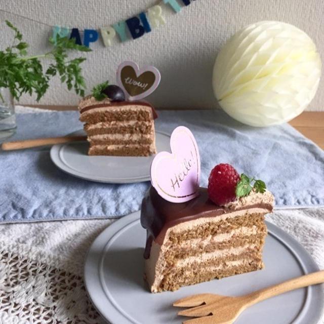 カフェモカ・チョコレートケーキでお誕生日。