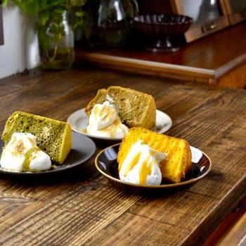 シフォンケーキ#かぼちゃ#抹茶#ほうじ茶 と さつまいものカラメルケーキ