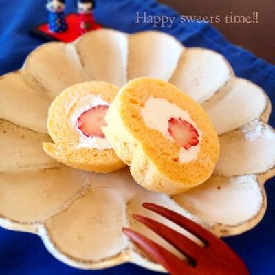 苺のロールケーキ♡簡単しっとりスポンジ♡