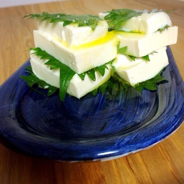 木綿豆腐とモッツレラチーズのミルフィーユ