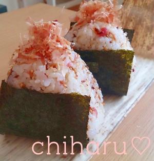 【簡単】【海苔+ご飯】カリカリじゃこの梅カツオおにぎり♡