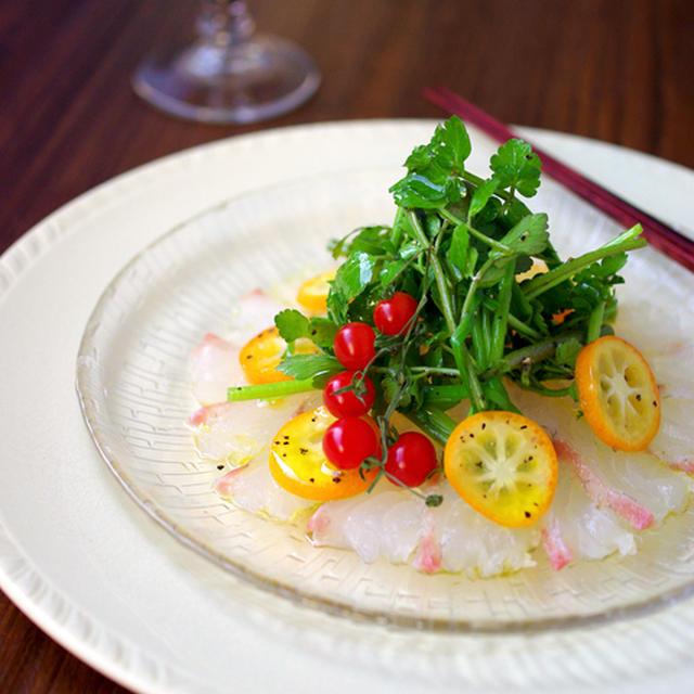 真鯛の和風カルパッチョ☆ 金柑と芹のサラダを添えて♪